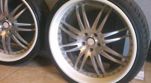 ken-yon brought the set of Savana came in forged wheels need a custom make over and need to be converted from  a bmw wheel to mercedes they had sine curb rash and looked dull so we gave them the rimspec treatment