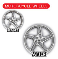 Motorcycle wheel rim repair